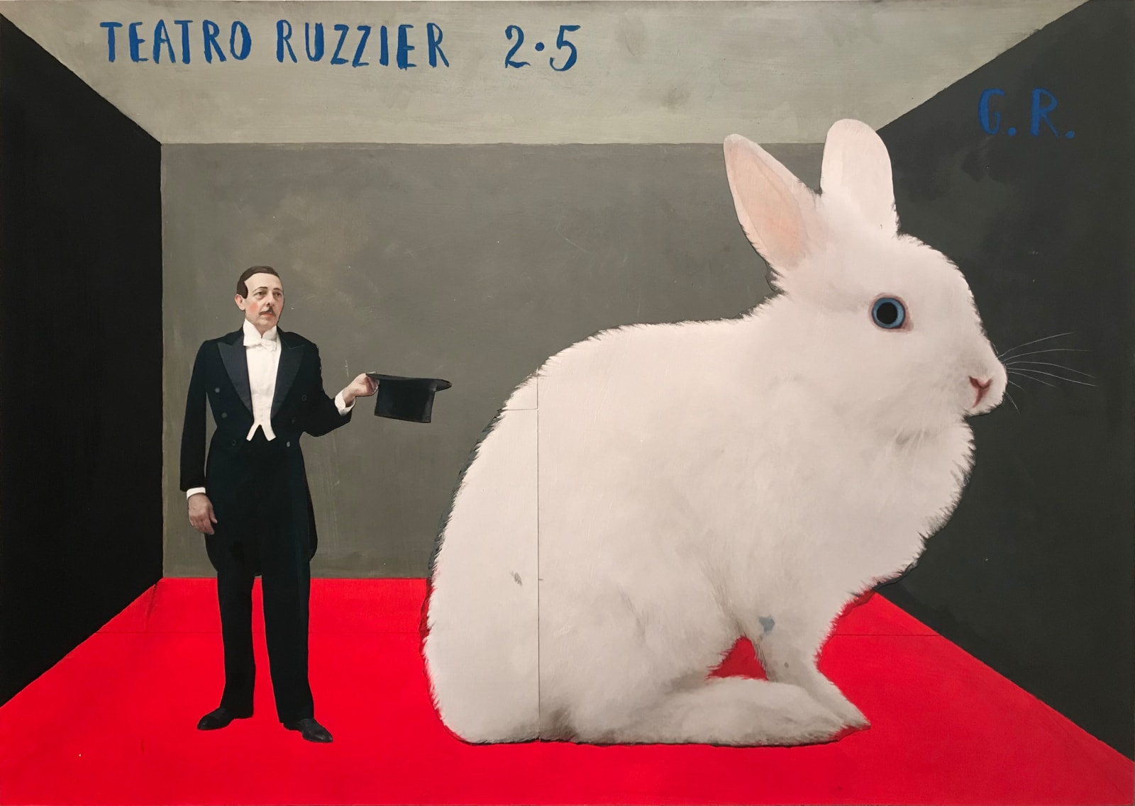 Paolo Ventura collage of magician with top hat in hand and large bunny next to him