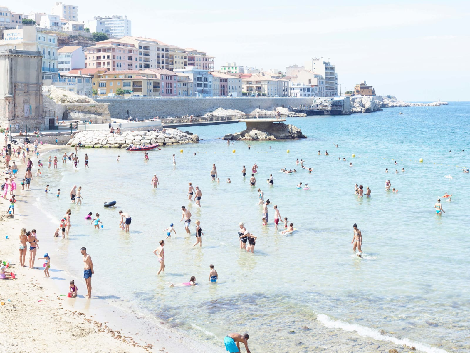 Swimmers at Plage des Catalans, Marseille, France by Massimo Vitali