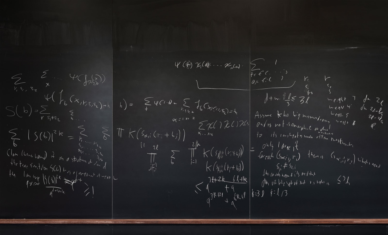 Chalkboard with formulas by Will Sawin, Columbia University, from the Do Not Erase series by Jessica Wynne