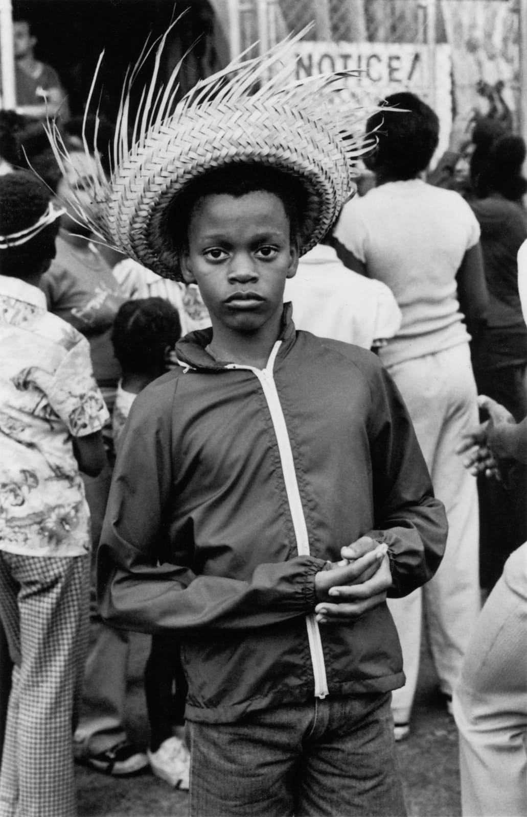 Ming Smith, Young Boy with Straw Hat, Coney Island, 1976