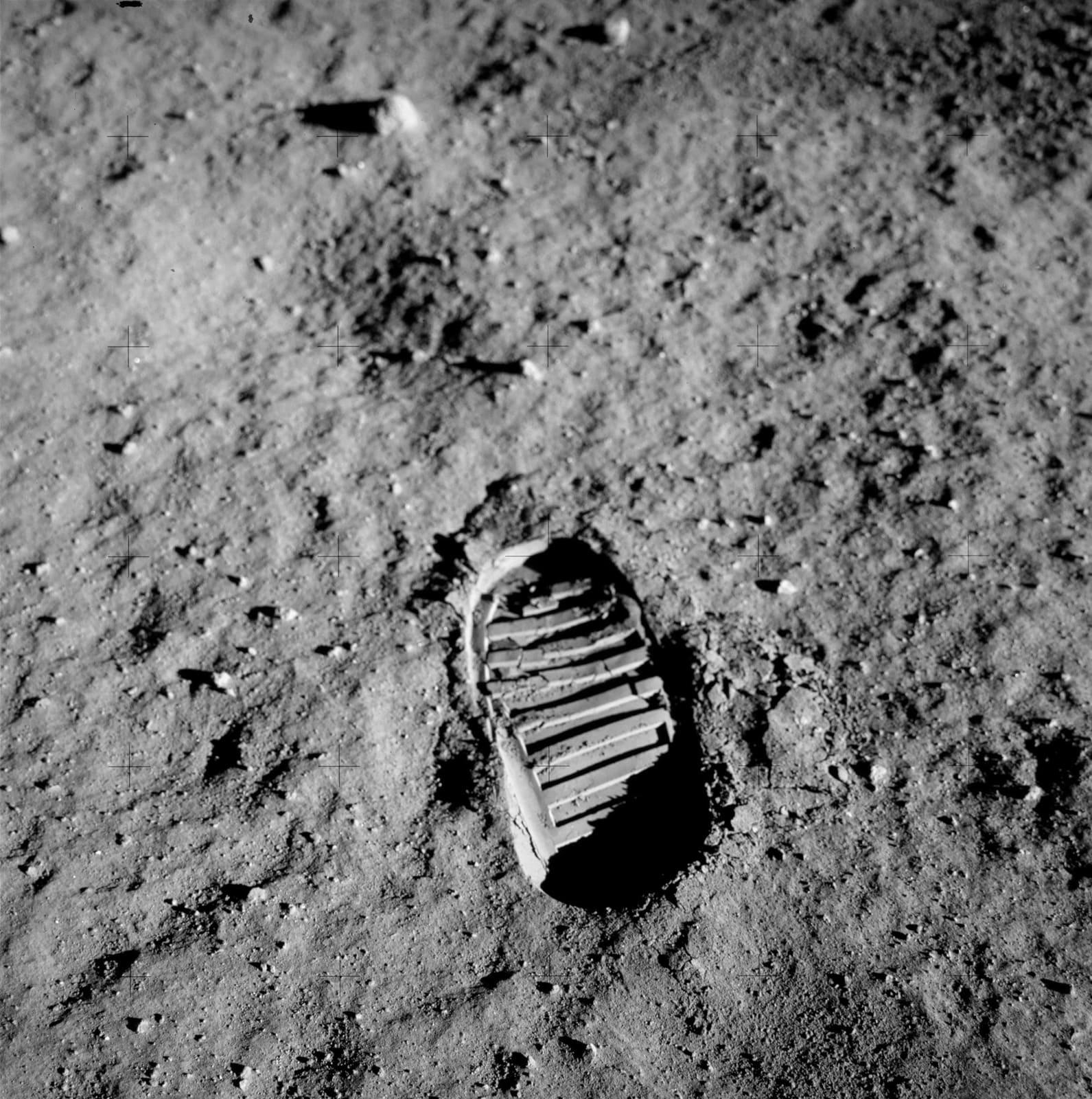 NASA (Crew of Apollo 11 - Buzz Aldrin) Bootprint, July 1969 vintage chromogenic print published by NASA 18 x 18 cm (image)38 x 37 cm (framed)