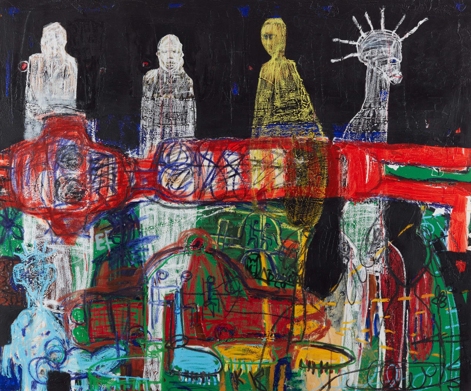 Aboudia  Fantômes des Migrants, 2019  Acrylic, collage & oil pastel on canvas  150 x 180 cm
