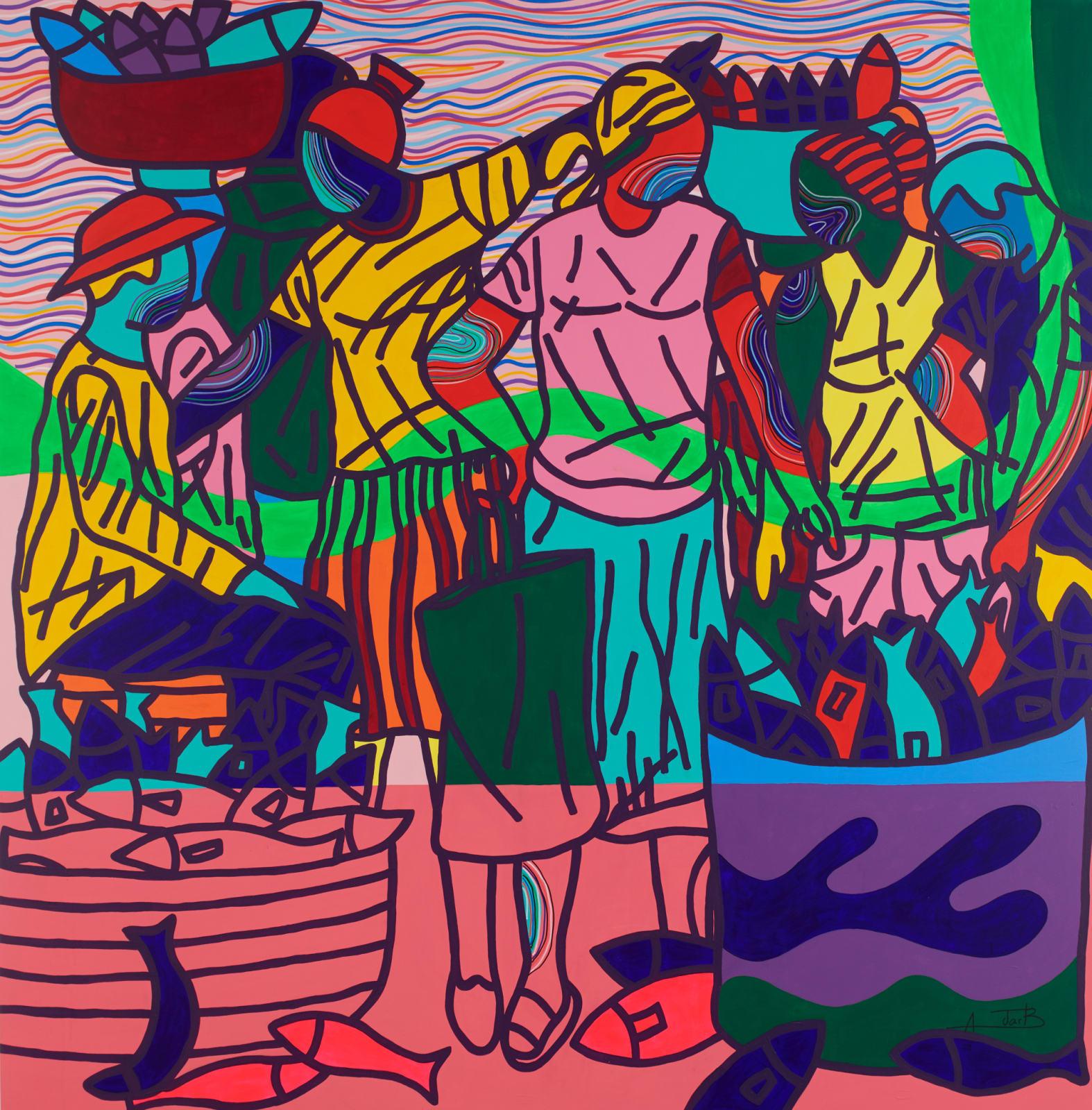 Ajarb Bernard Ategwa  Down Beach, 2018  Acrylic on canvas  200 x 195 cm