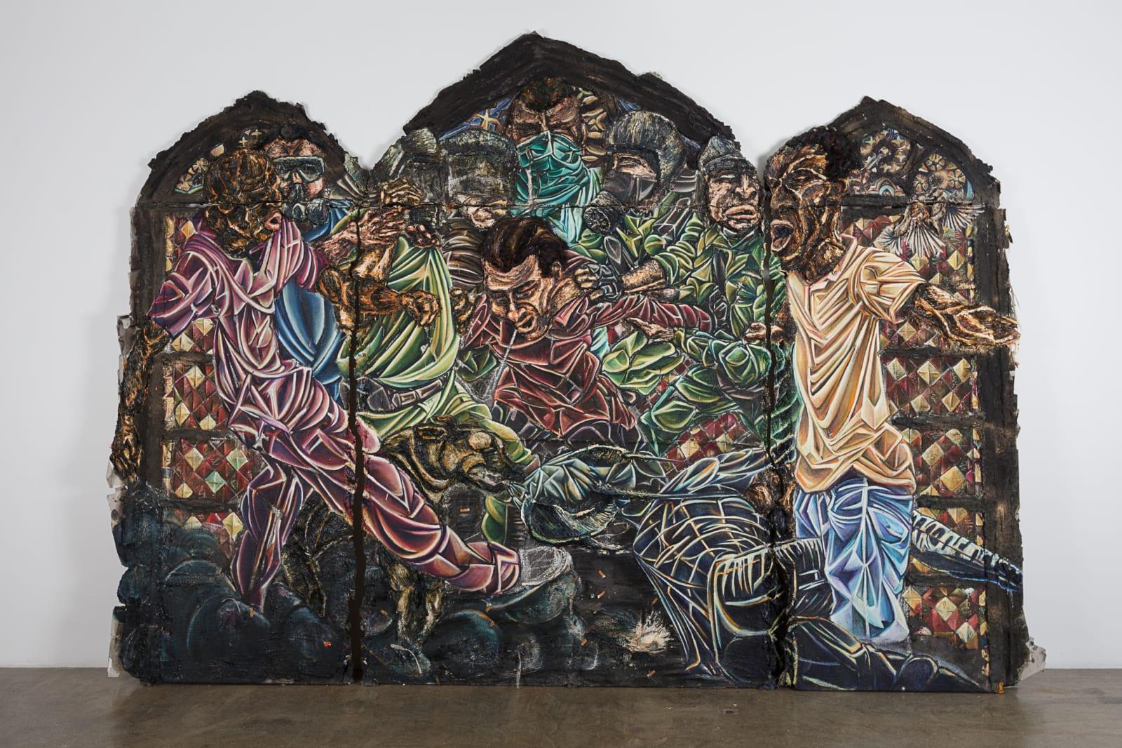 Raquel van Haver  Definition of a system 2, 2017  Oil paint, resin, plaster, gel, charrcoal, hair, ash, wood, paper and tar on burlap  249 x 344 cm