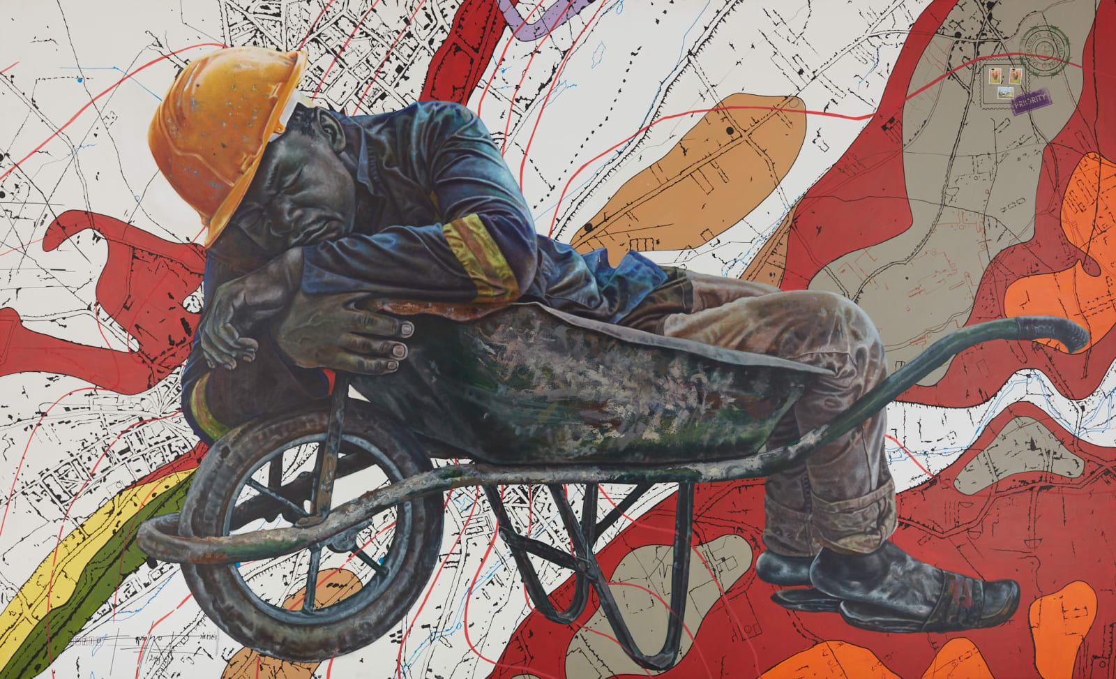 Jean David Nkot  hpp//.www.ASTRAL TRAVEL.NET, 2019  Acrylic & Posca on canvas  66 7/8 x 110 1/4 in  170 x 280 cm