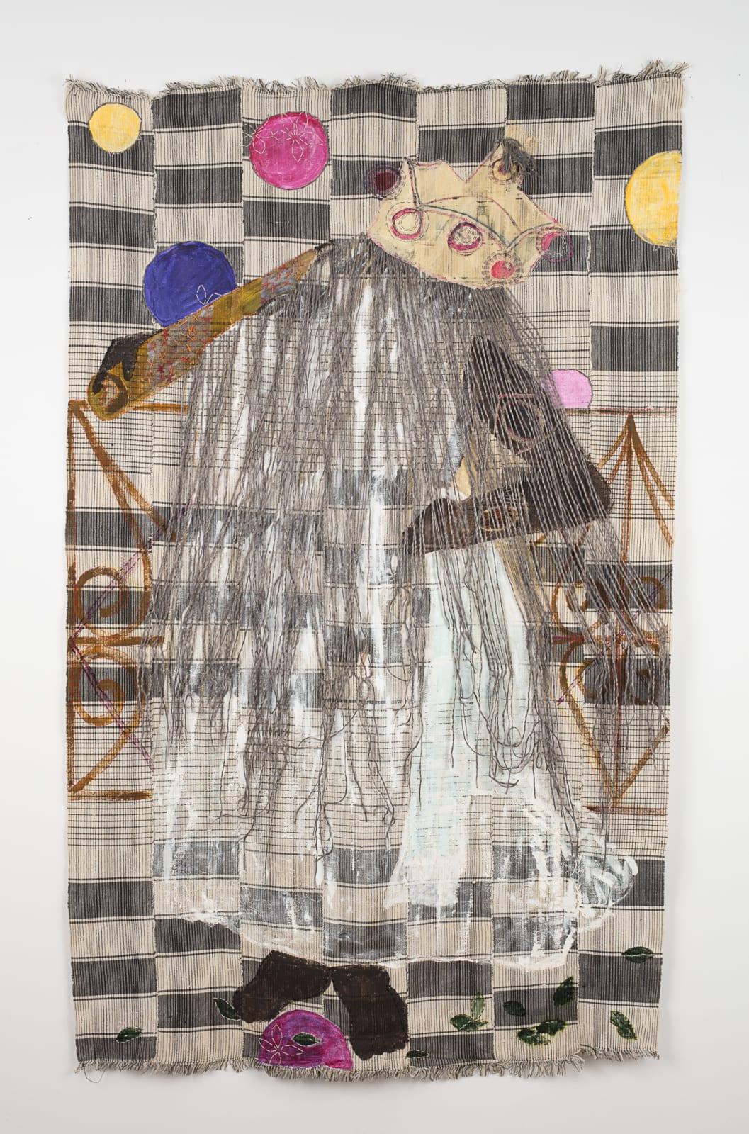 "Karen Hampton  Shape Shifter, 2016  Repurposed textile, pigment, synthetic fiber, cotton and silk yarn  78"" x 46-1/2"""