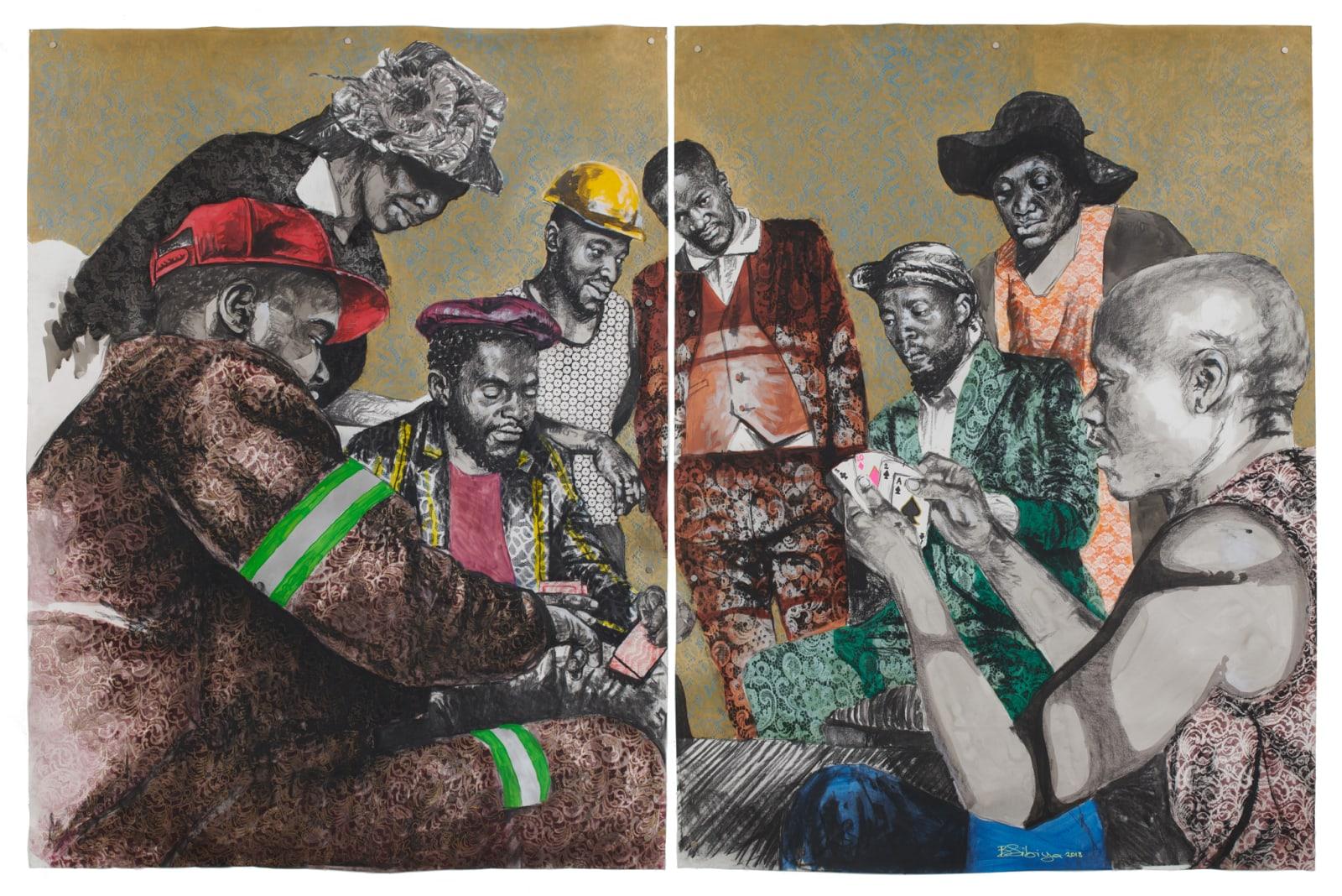 Bambo Sibiya  Township Casino (diptych), 2018  Acrylic & charcoal on paper  199 x 300 cm