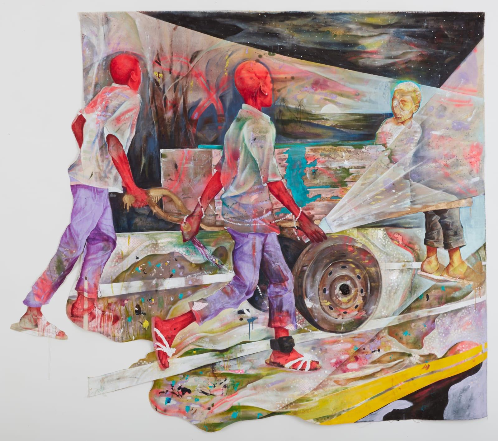 Lavar Munroe  A Stranger, 2019  Acrylic on unprimed canvas  84 x 96 in  213.4 x 243.8 cm
