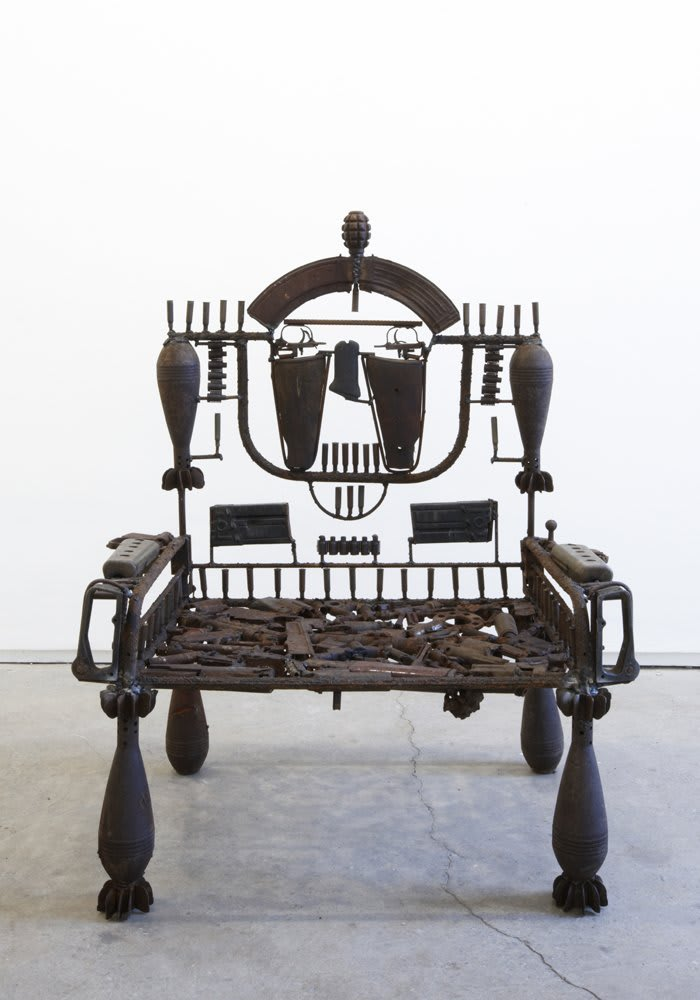 Goncalo Mabunda  Untitled (Throne), 2011  Decommissioned welded arms  106 x 59 x 92 cm