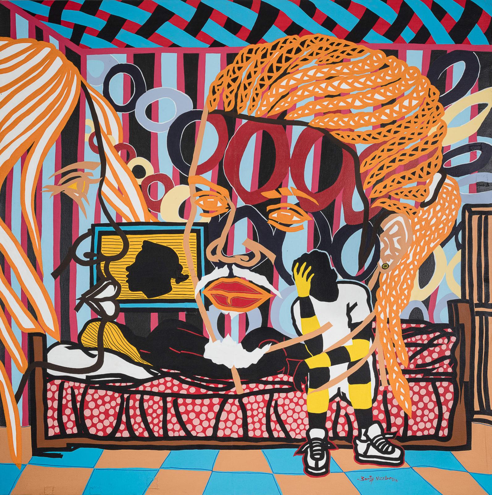 Boris Nzebo  Ampoule rouge, 2017  Acrylic and posca on canvas  150 x 150 cm