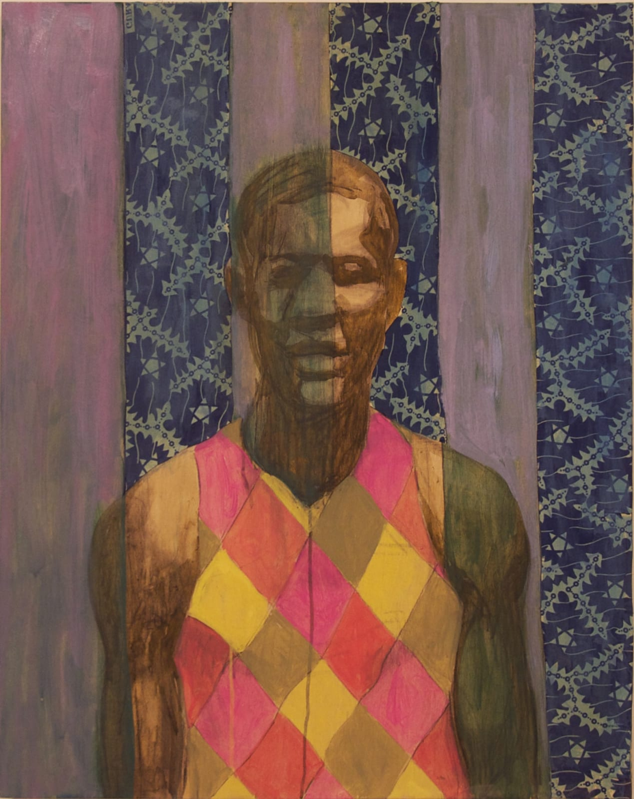 Derek Fordjour  Modest Percolation, 2015  Oil, acrylic, newspaper and fabric on wood panel  30 x 24 in.