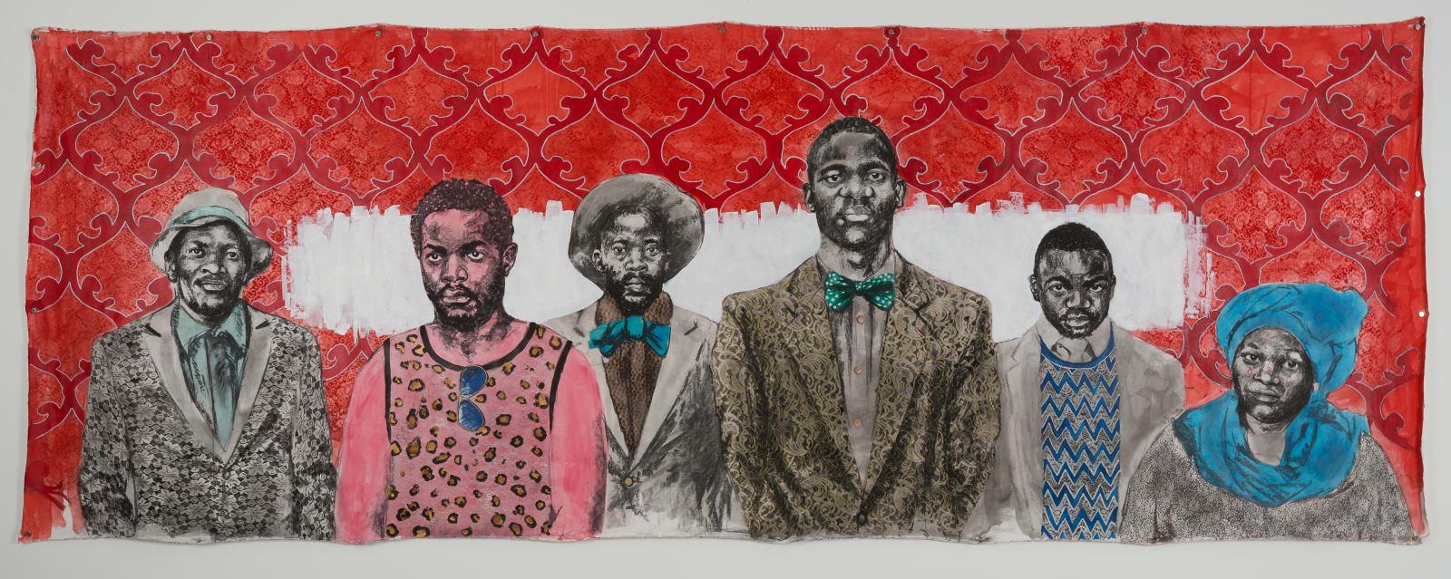 Bambo Sibiya  Custodians of the Swenka Movement , 2017  Charcoal and acrylic on canvas  150 x 400 cm