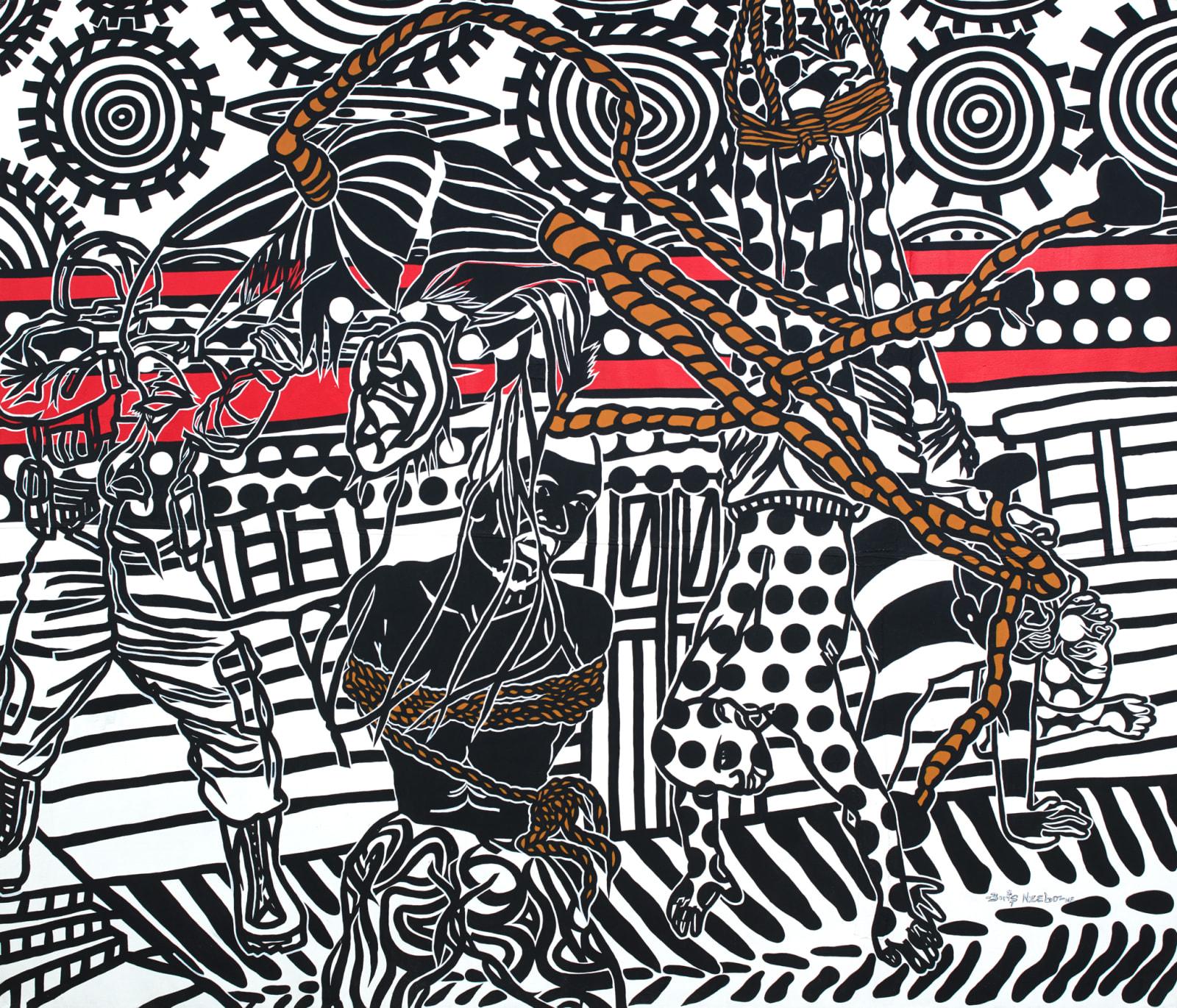 Boris Nzebo  Ashouka Ngagali, 2018  Acrylic & Posca on canvas  200 x 230 cm