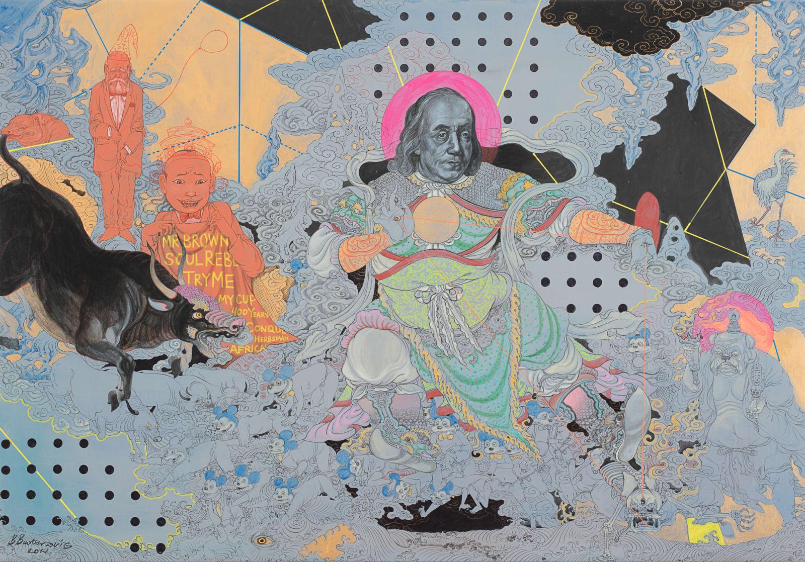 Baatarzorig Batjargal  New Lord, 2017  Acrylic on canvas  27 1/2 x 39 3/8 in  70 x 100 cm