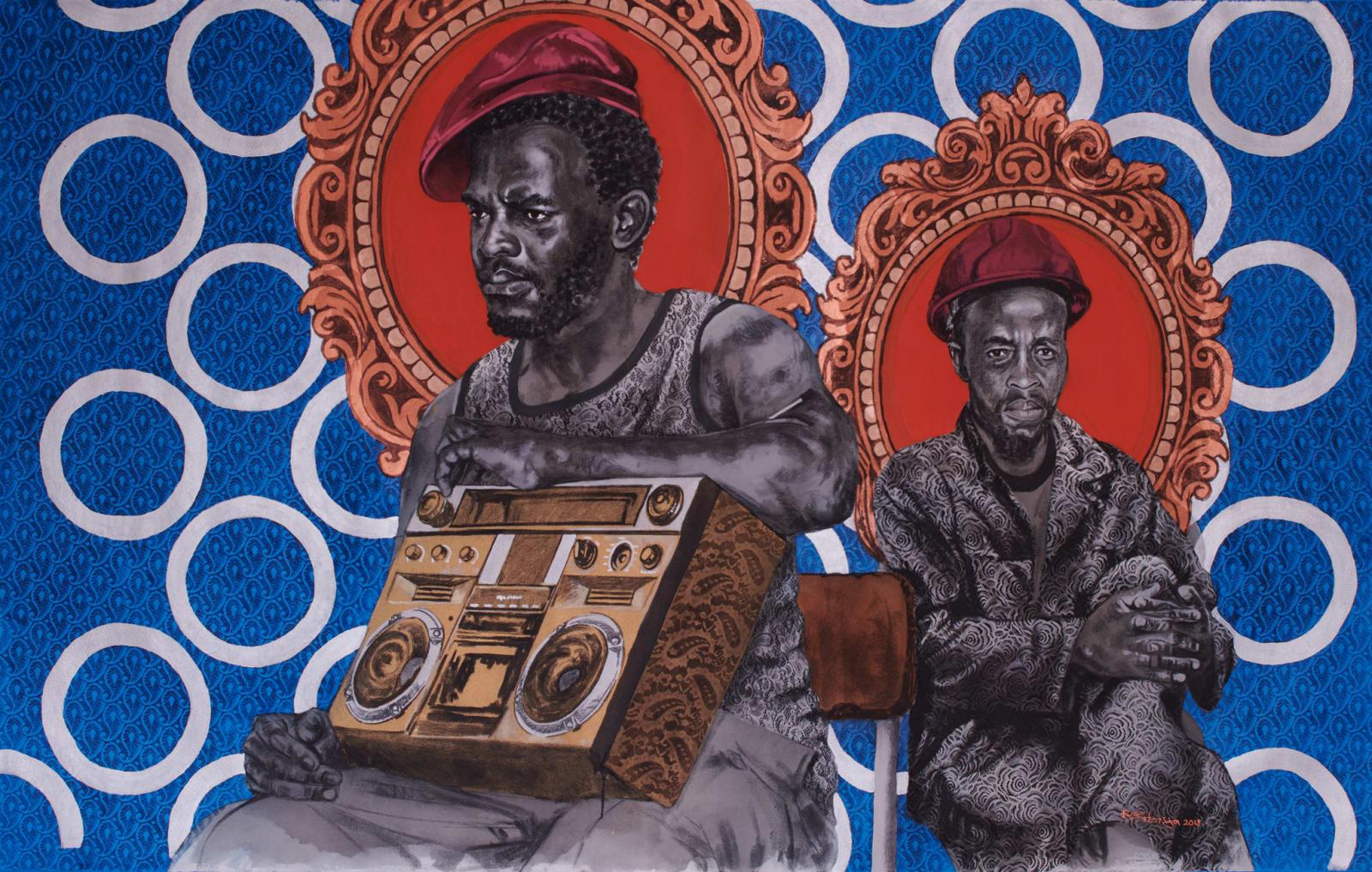 Bambo Sibiya  Sounds of Hope, 2018  Acrylic & charcoal on canvas  189 x 299 cm