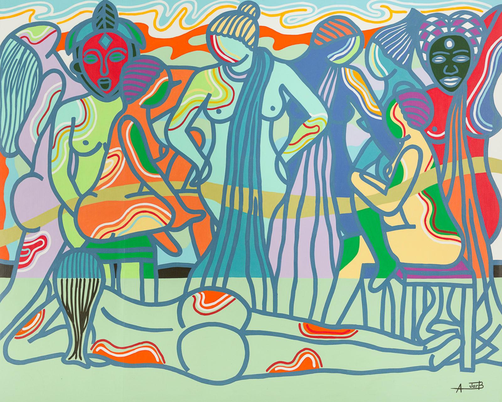 Ajarb Bernard Ategwa  Night Princesses, 2016  160 x 200 cm