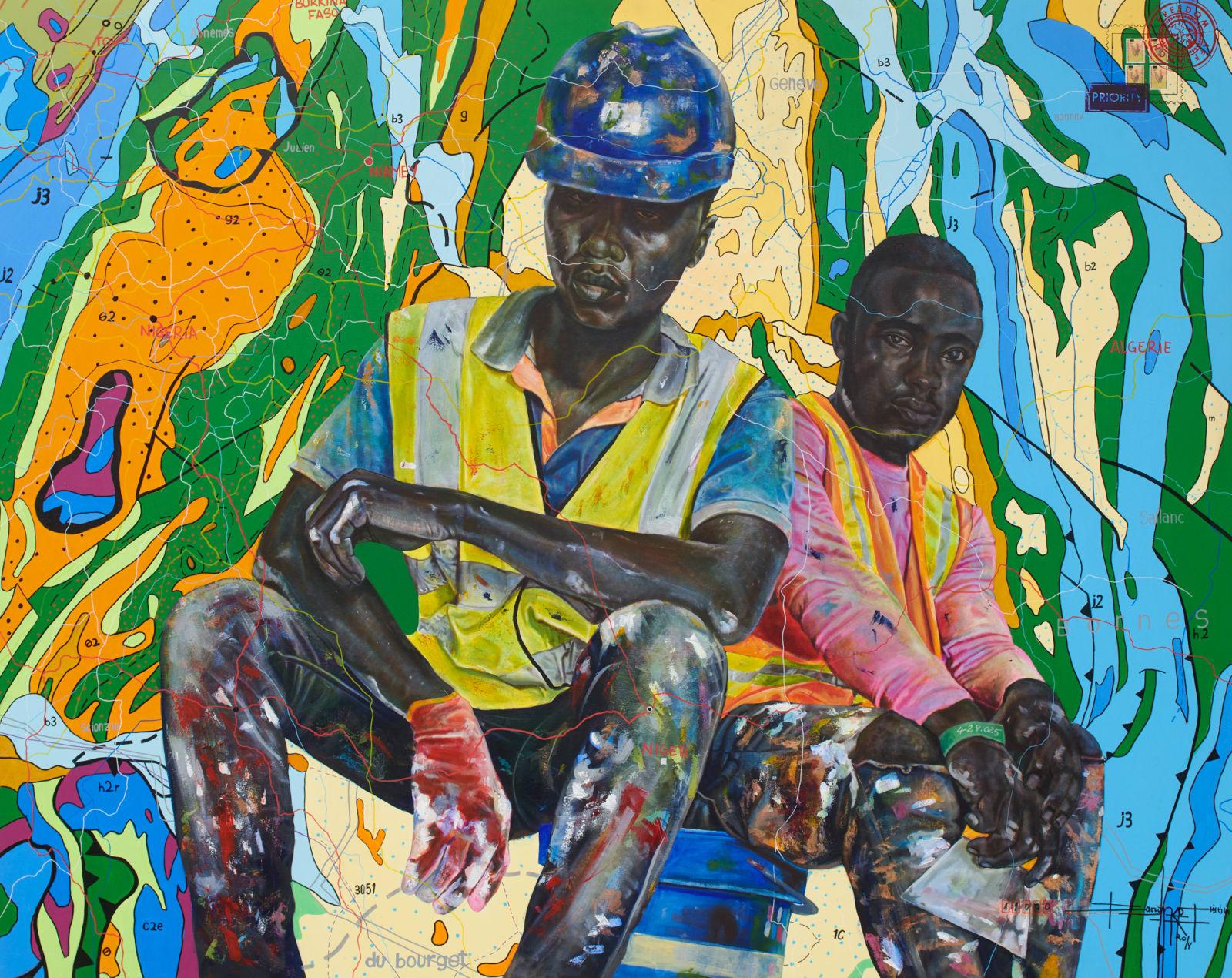 Jean David Nkot  www.hemle.com, 2018  Acrylic & Posca on canvas  200 x 160 cm