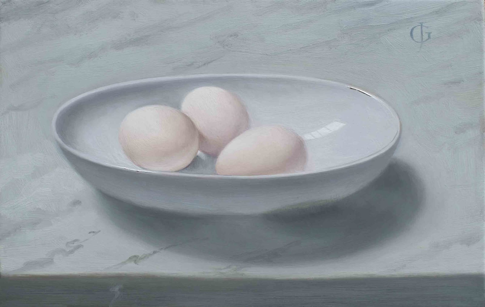 James Gillick, Three Duck Eggs in an Oval Bowl