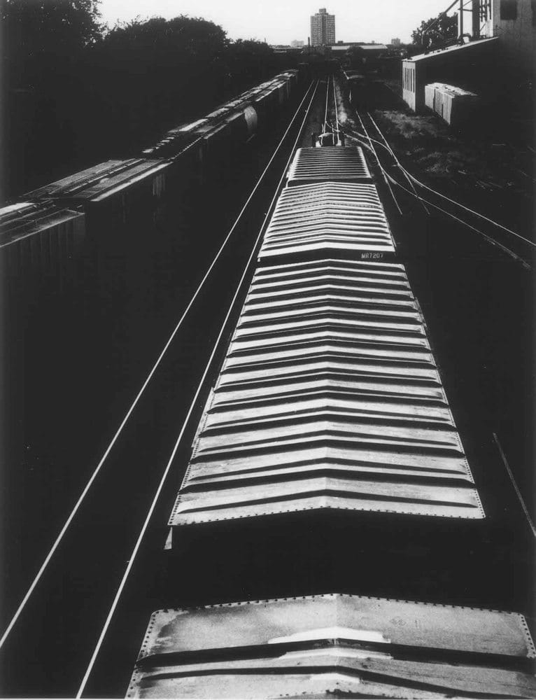 Sid Kaplan, Tops of box cars on tracks, Minneapolis, 1986