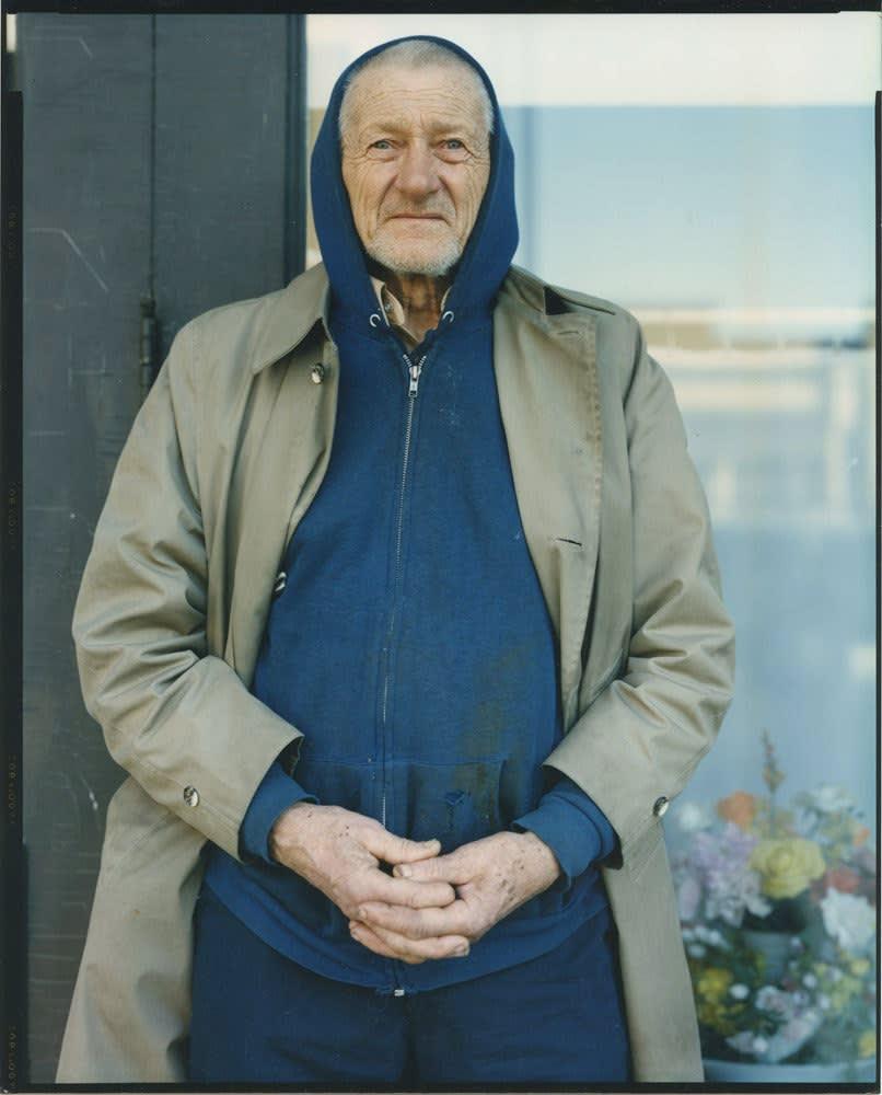 Bruce Wrighton, Man in hooded sweatshirt and coat, 1987