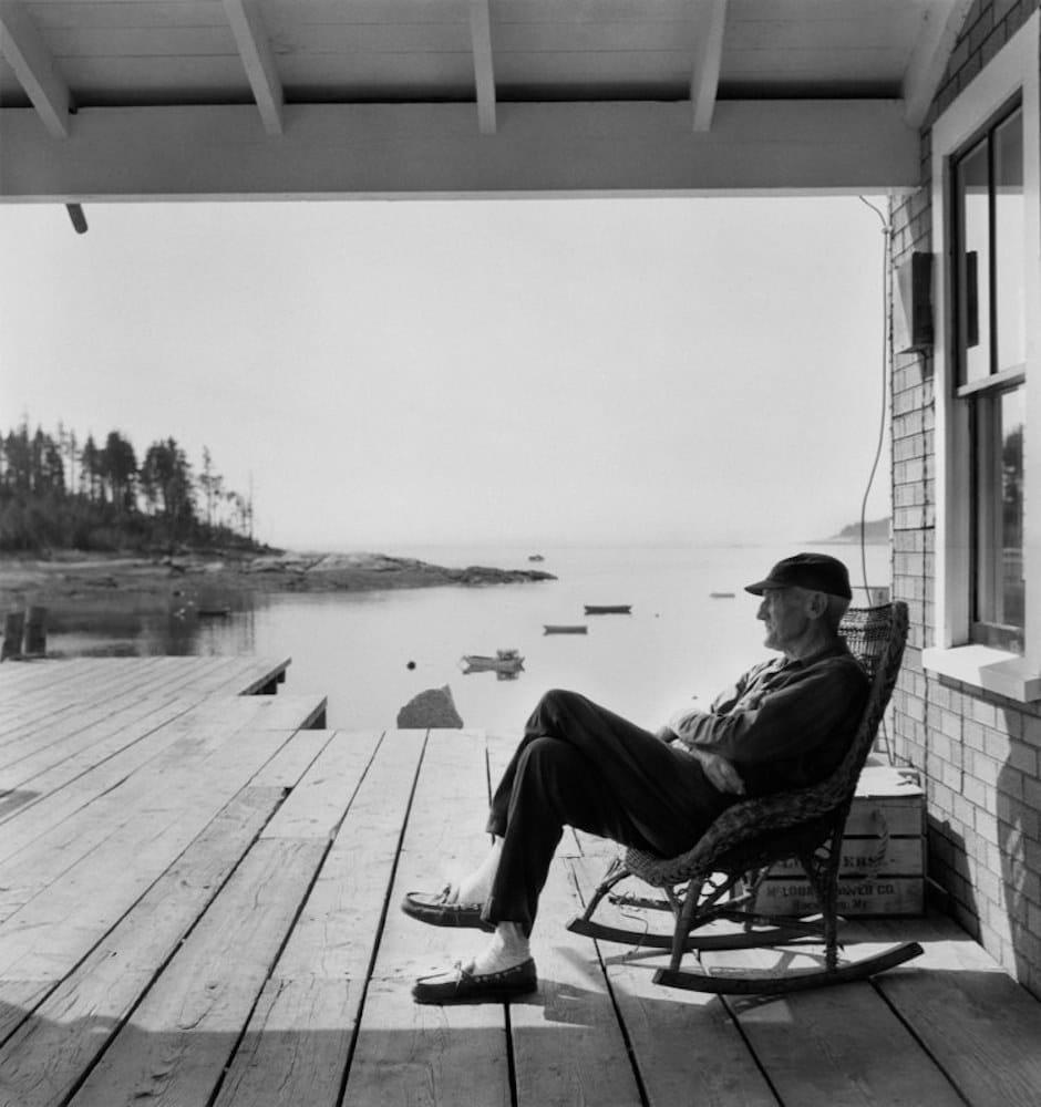 Berenice Abbott, Old Man in Rocker, Maine, c. 1966