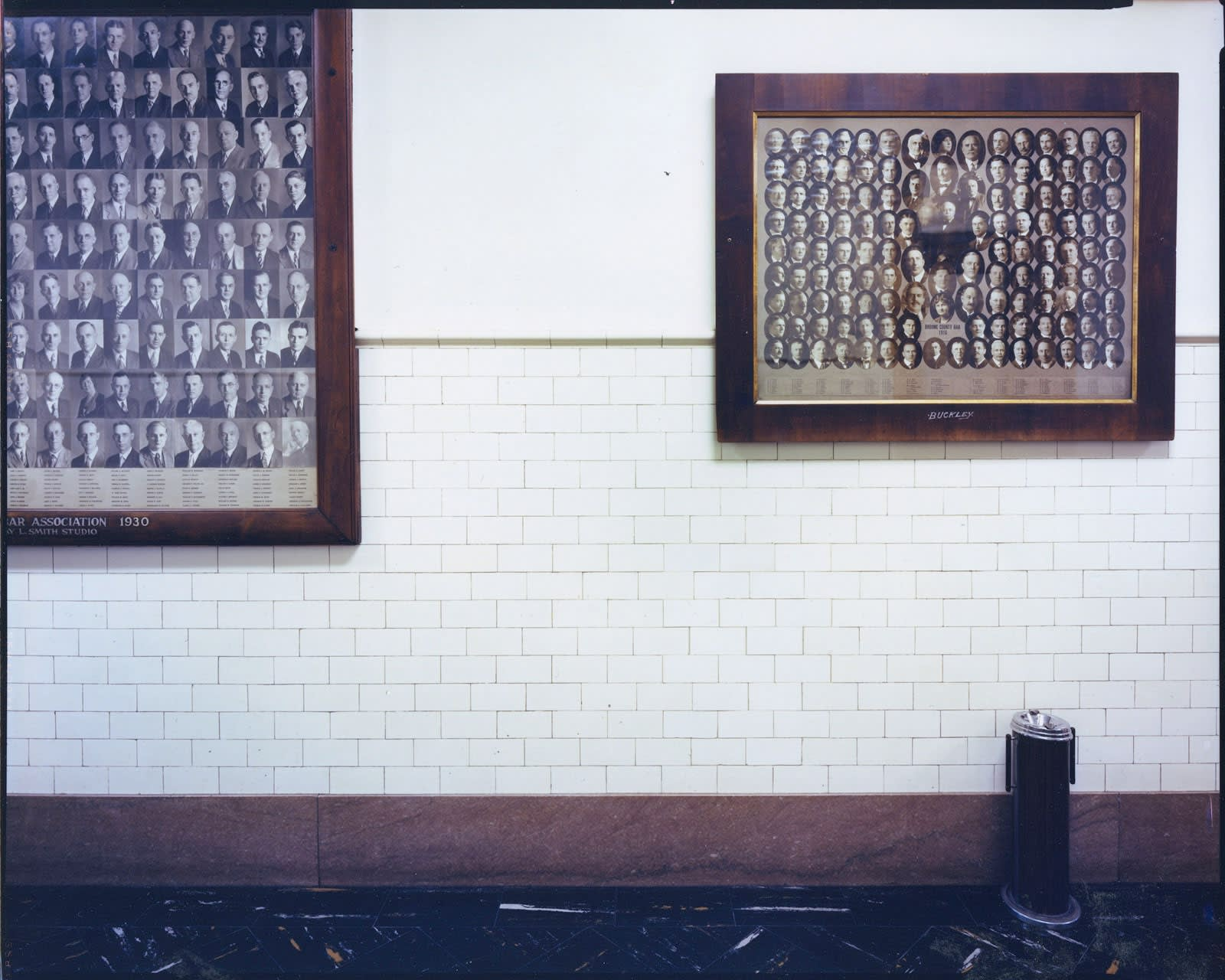 Bruce Wrighton, Courthouse (portraits in hallway), Broom County, NY, 1987