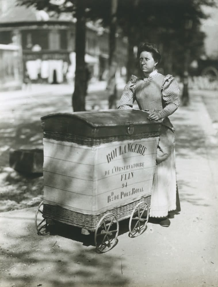 Eugene Atget, Untitled (Woman with boulangerie cart), c. 1900
