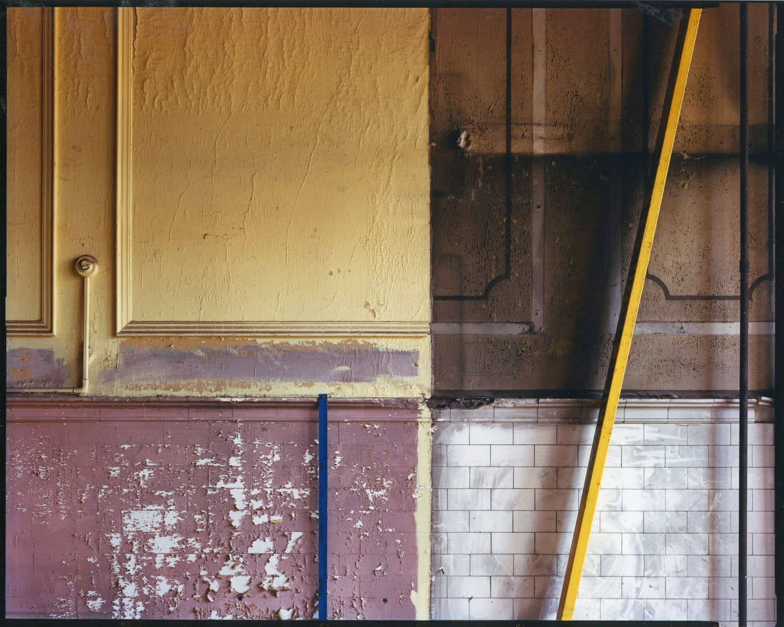 Bruce Wrighton, Wall with peeling paint and wood stick at angle on right