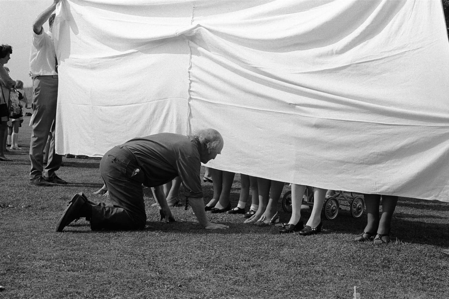 Homer Sykes, Village fete, prettiest ankles competition, Marhamchurch, Cornwall, 1970
