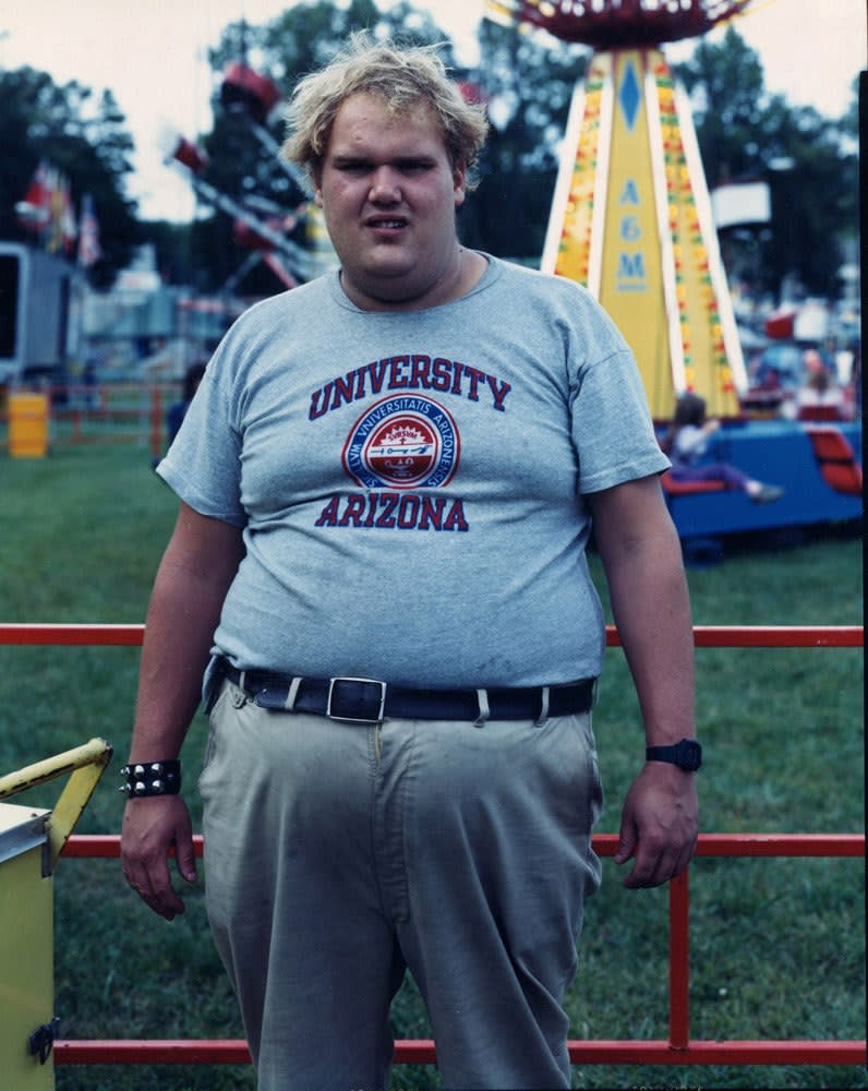 Bruce Wrighton, Man with studded bracelet, Carnival, Johnson City, NY, 1987