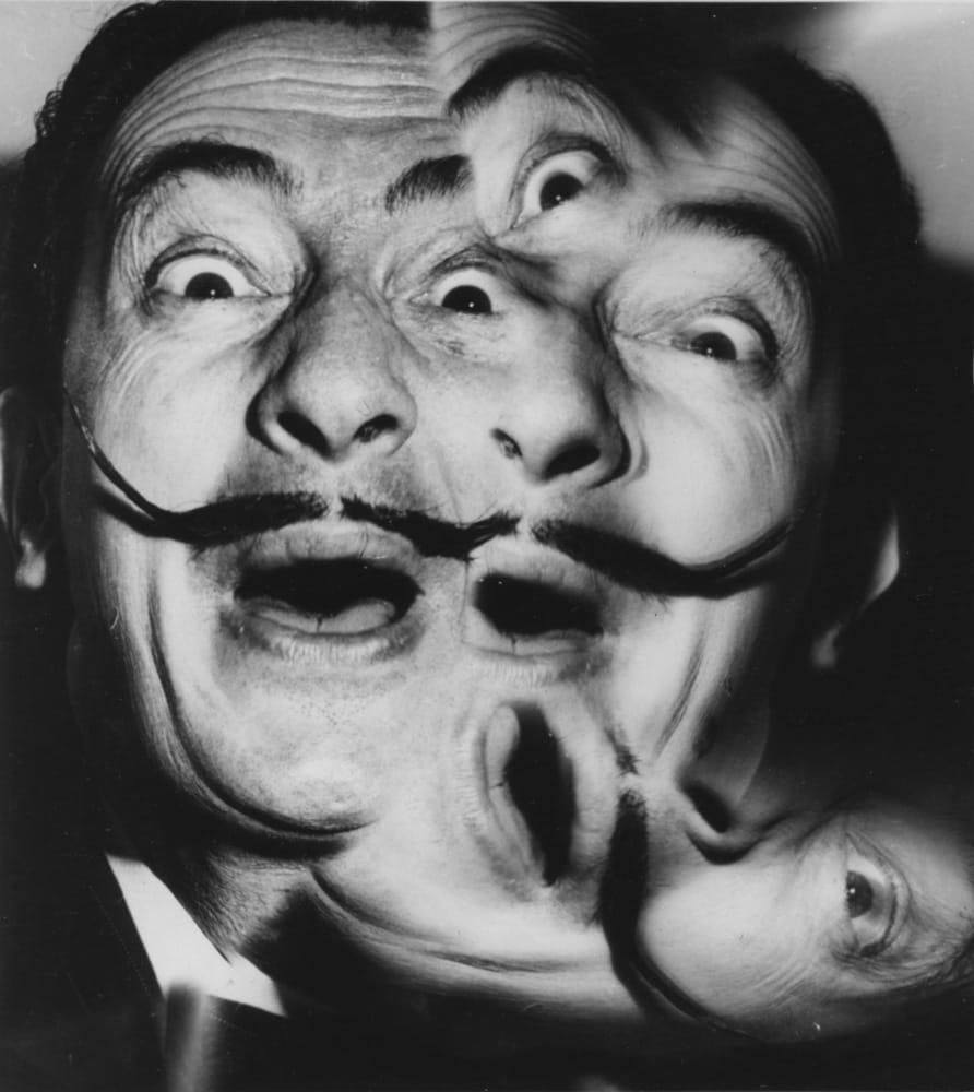 Weegee, Salvador Dalí (surimpression), c. 1950