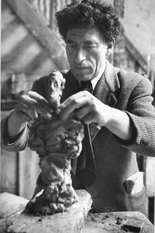 Sabine Weiss Alberto Giacometti dans son atelier, 46 rue Hippolyte Maindron, Paris Tirage gélatino-argentique postérieur 24 x 36 cm Dim. papier: 30 x 40 cm