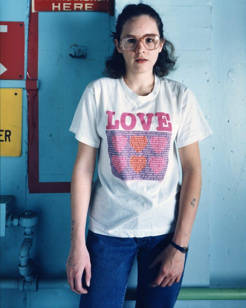 Bruce Wrighton, Woman with LOVE tee and tattoo, Binghamton, NY, 1987