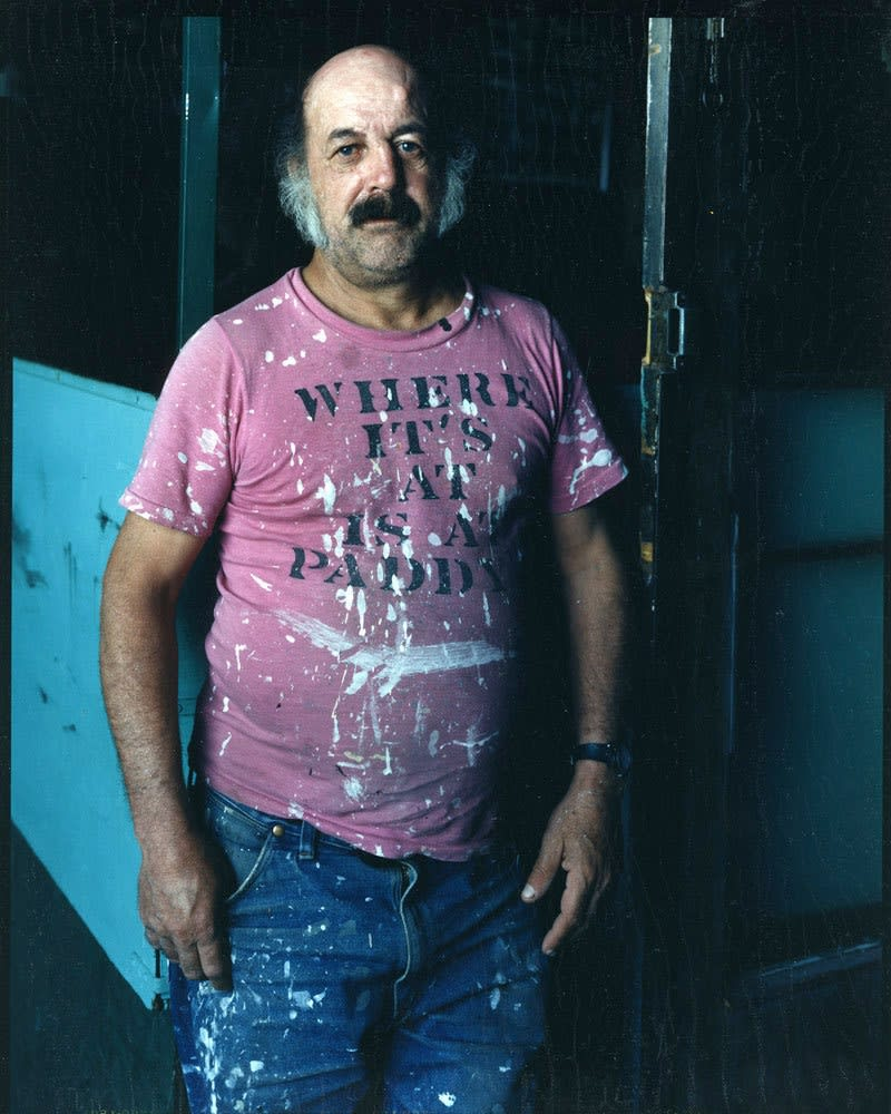 Bruce Wrighton, Man in pink T-shirt (Where It's at is a Paddy's), painted splattered, 1987