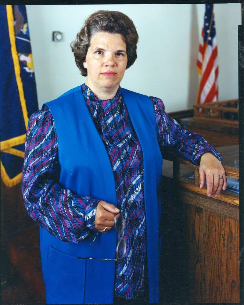 Bruce Wrighton, Woman in Courtroom, Owego, NY, 1986
