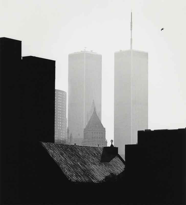 Sid Kaplan, World Trade Center and bird in sky, Lower East Side, New York City, 1988