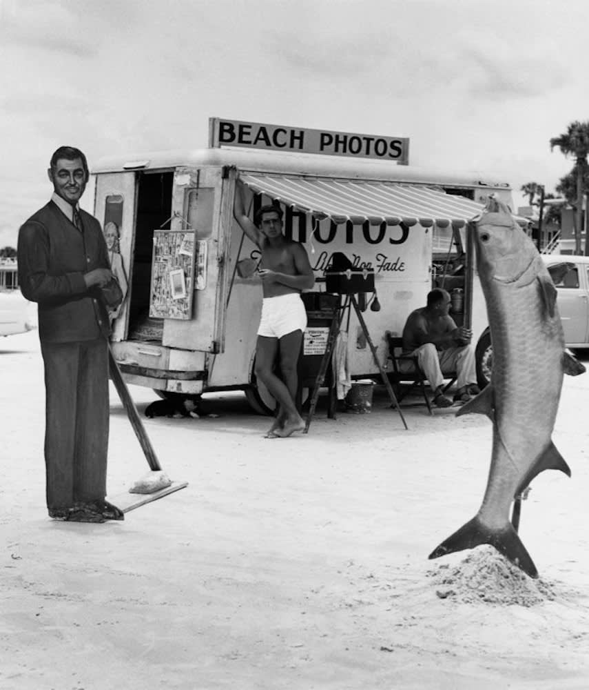 Berenice Abbott, Beach Photos with Fish, Florida, c. 1954