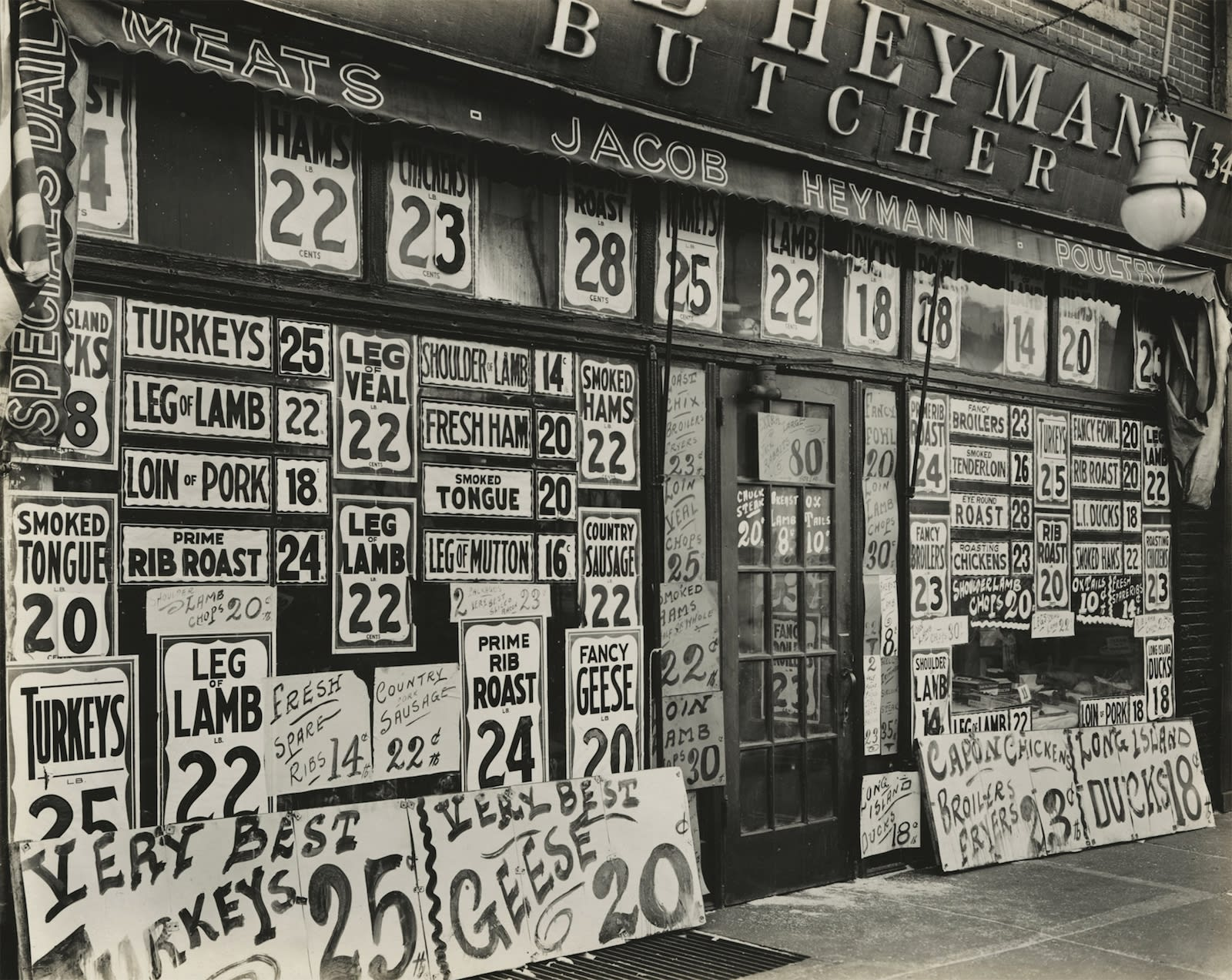 Berenice Abbott, Jacob Heymann Butcher Shop, New York City, 1938