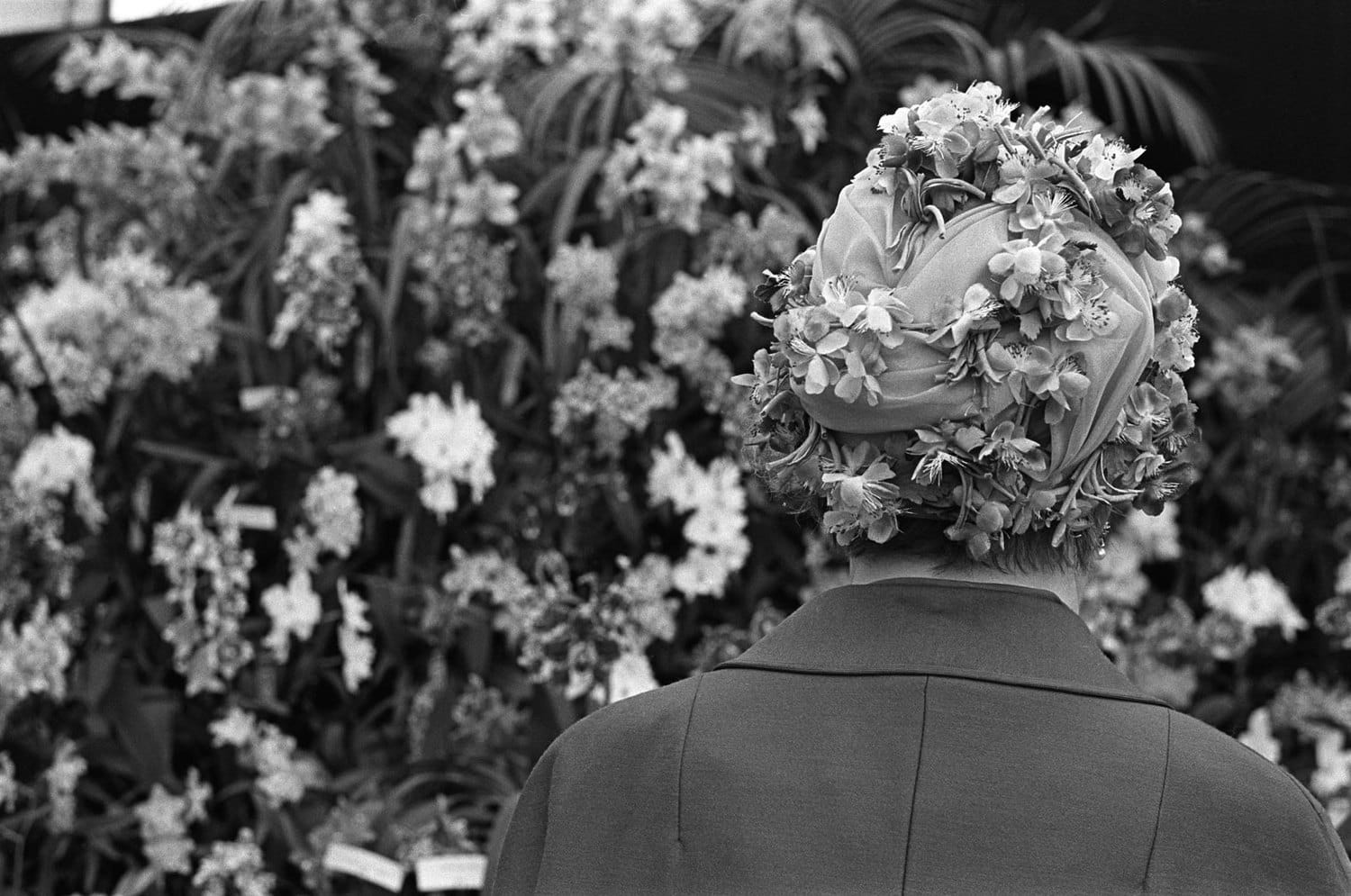 Homer Sykes, Woman wearing floral fashion hat, Chelsea Flower Show, London, 1968