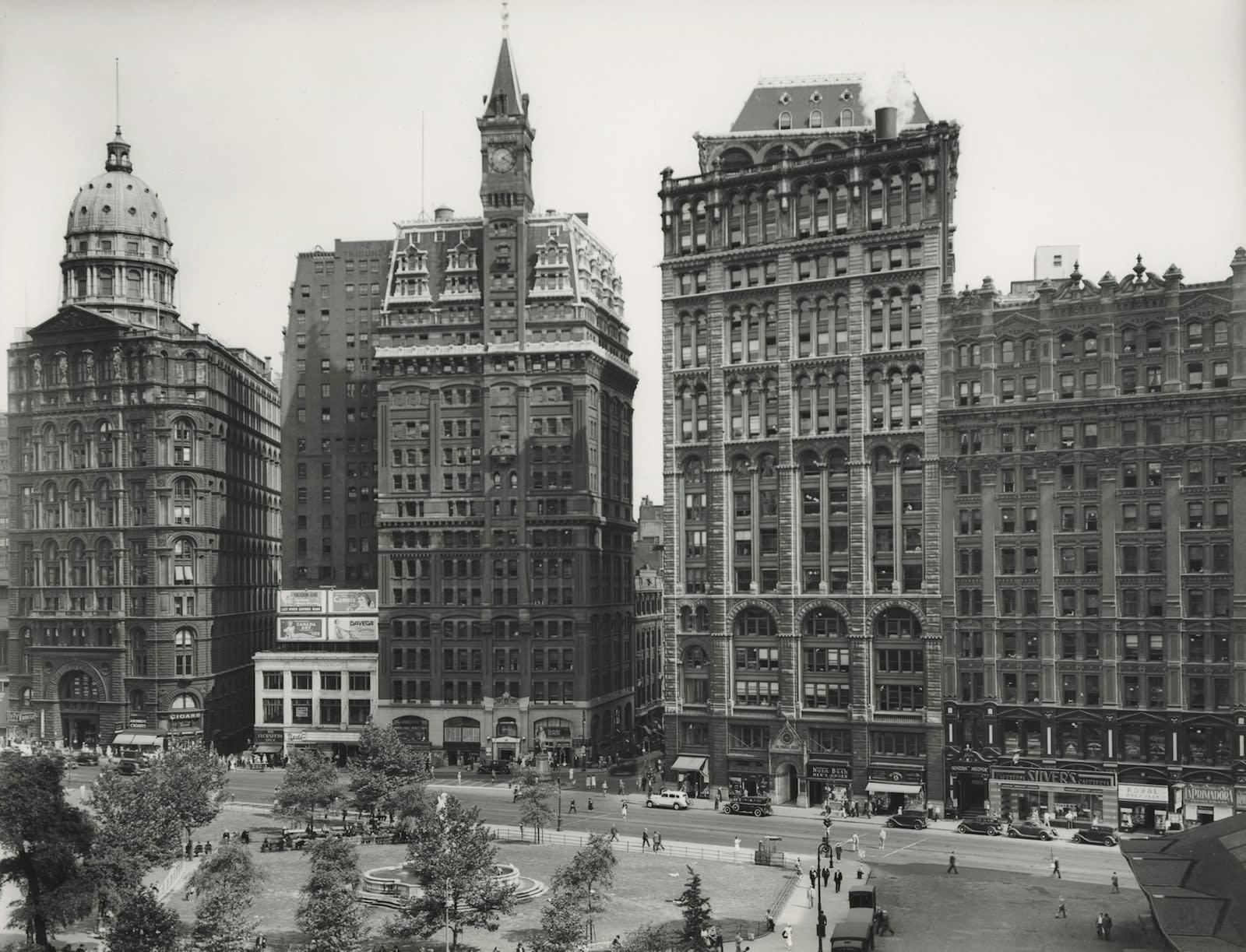 Berenice Abbott, City Hall with World Tower, c. 1936