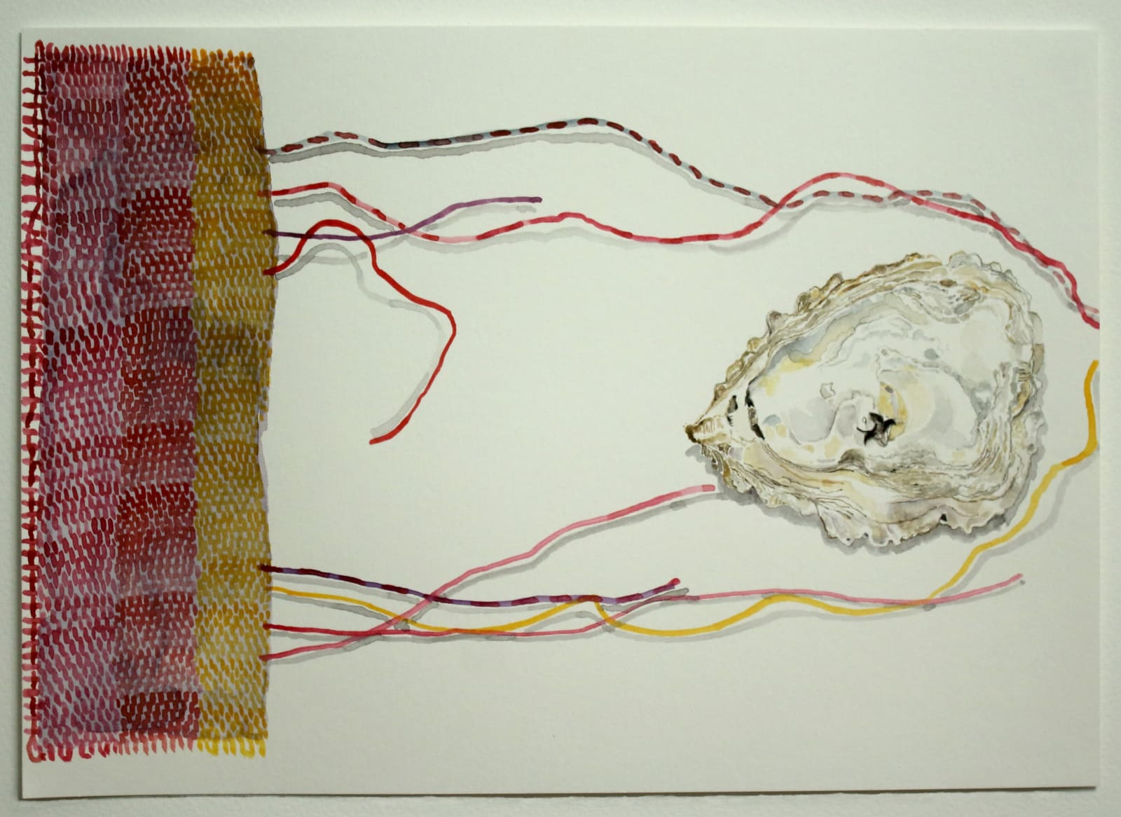 Jocelyn Clarke, Oyster Shell, Bird and Drifting Threads, 2020