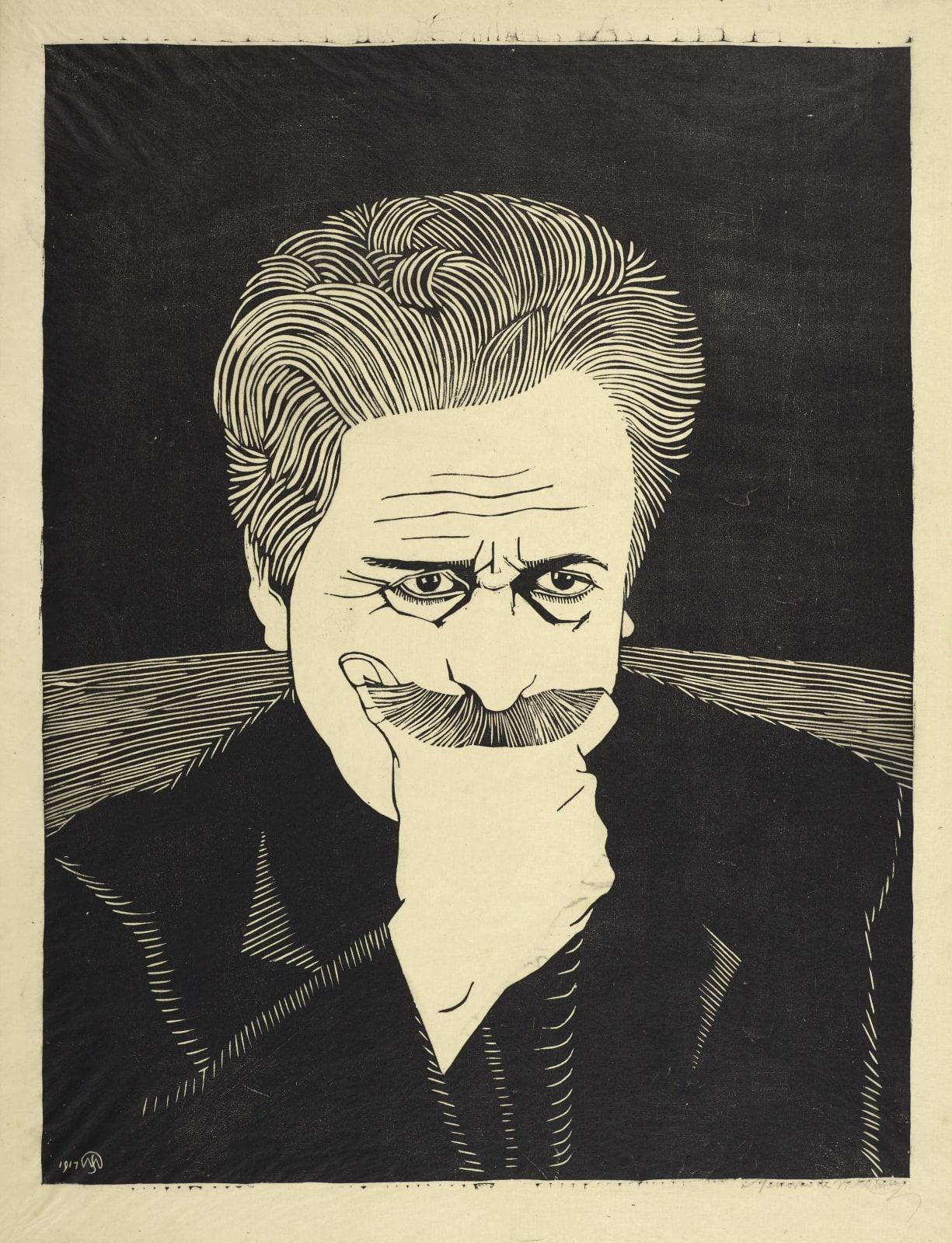 Samuel Jessurun de Mesquita, Large self-portrait, head & shoulders, hand  under moustache | London Original Print Fair