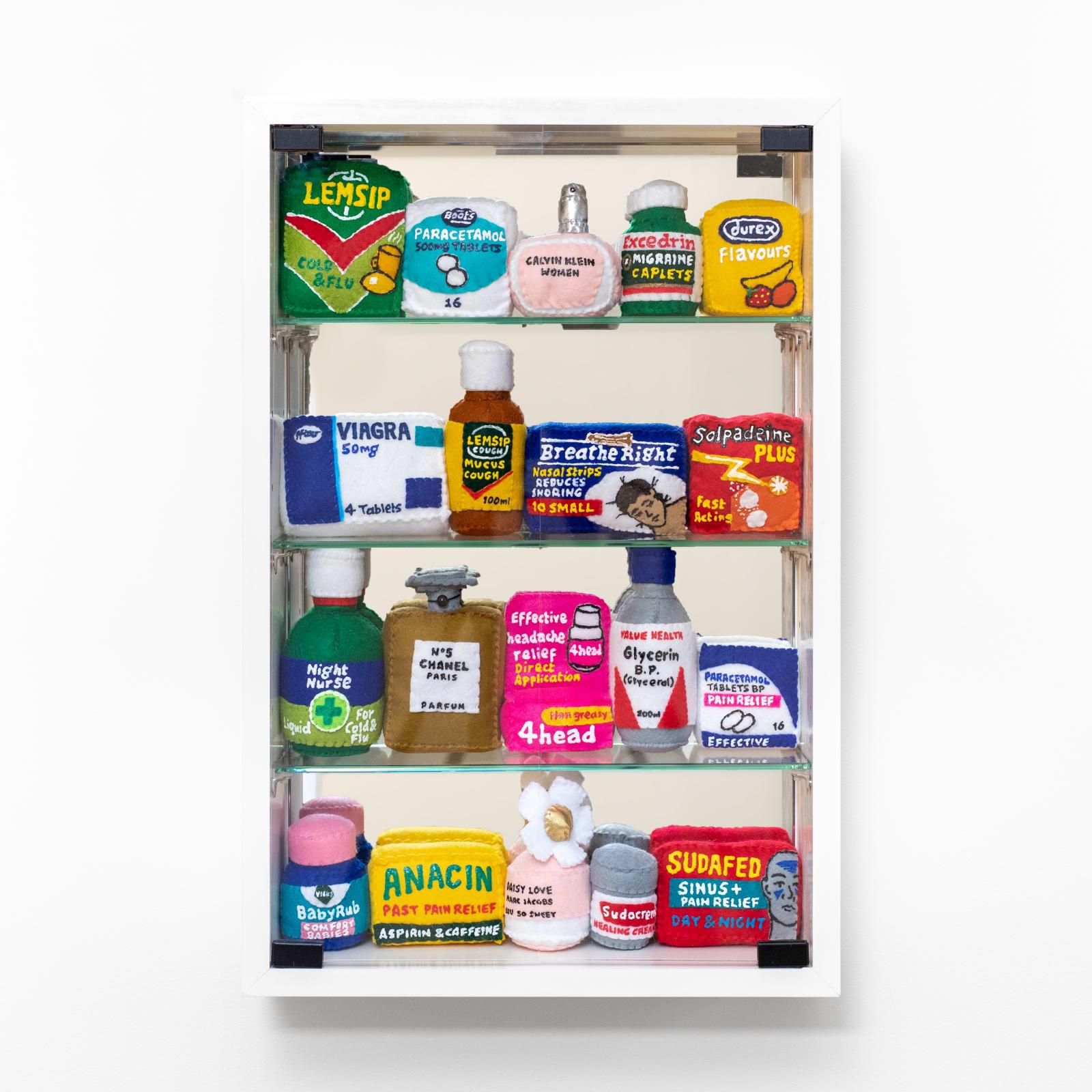 Lucy Sparrow, Bourdon Street Chemist Cabinet, 2020
