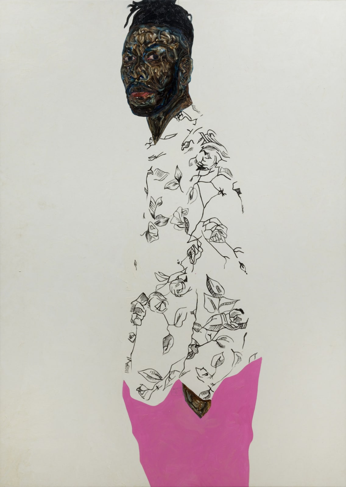 Amoako Boafo, Self portrait with pink pants, 2020