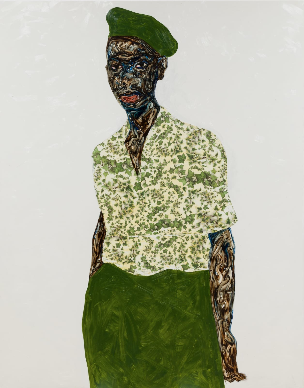 Amoako Boafo, Green beret, 2020