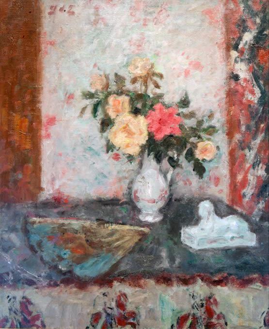 Georges D'Espagnat (French, 1870-1950), Vase des Roses, éventail et Sphinx