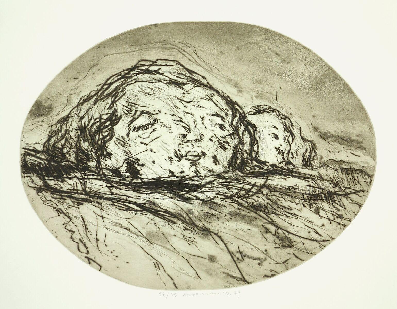 Marwan, Zwei Kpfe in Landschaft, 1972/74