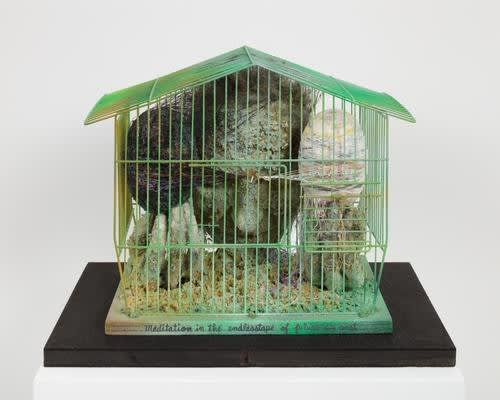 Tetsumi Kudo Meditation in the Endlesstape of Future Past, cage peinte, plastique, polyester, résine, ficelle 33 x 19 x 27 cm 13 x 7 1/2 x 10 5/8 inches