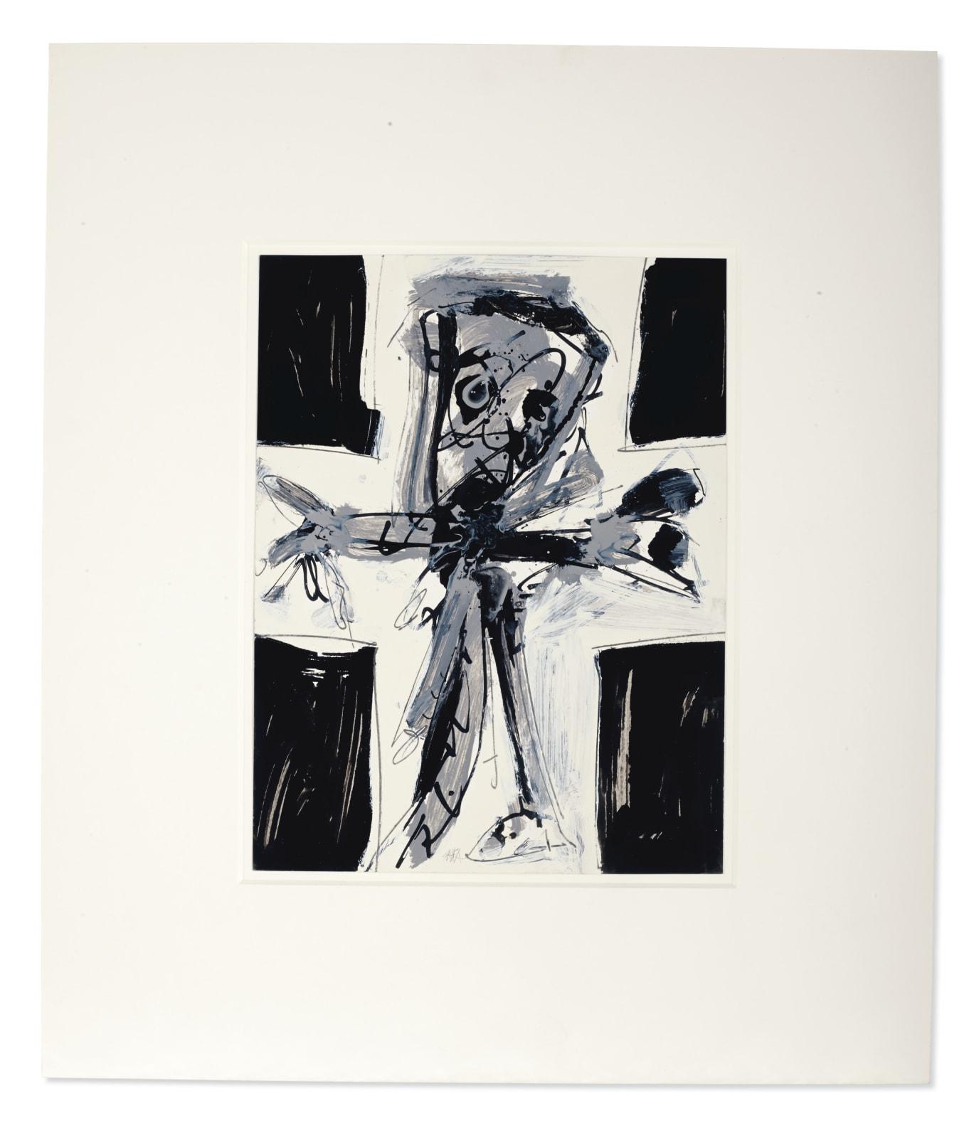 Antonio Saura Crucifixion Huile, mine de plomb et encre sur papier 31.5 x 24 cm 12 3/8 x 9 ½ in.