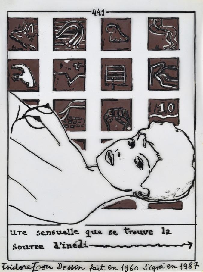 Isidore Isou Initiation à la haute volupté 441 encre de Chine et aquarelle sur papier calque 17,5 x 13,6 cm
